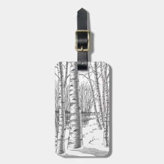 Birch Trees In Winter Christmas Xmas Luggage Tag
