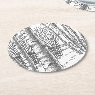 Birch Trees In Winter Christmas Xmas Round Paper Coaster