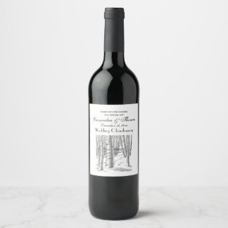 Birch Trees In Winter Christmas Xmas Wine Label