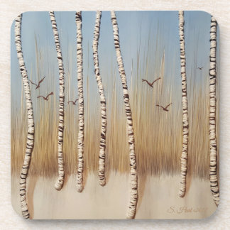 Birch Trees in Winter Coaster