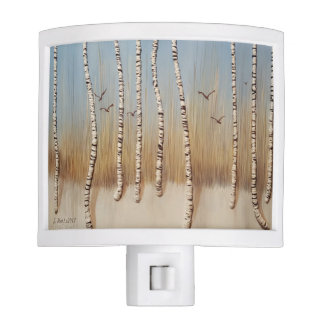 Birch Trees In Winter Night Light