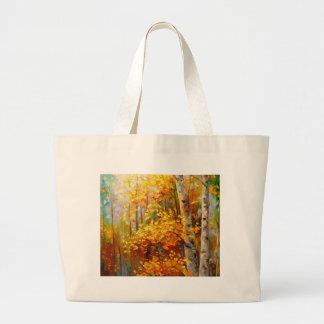 Birch trees large tote bag