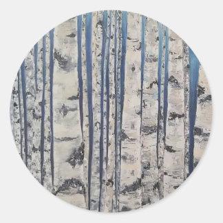 Birch trees Morse Code Classic Round Sticker