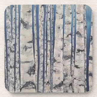 Birch trees Morse Code Drink Coasters