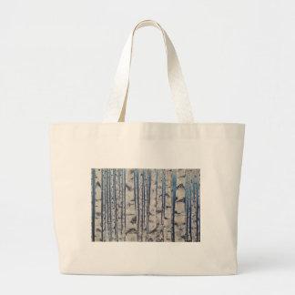 Birch trees Morse Code Large Tote Bag