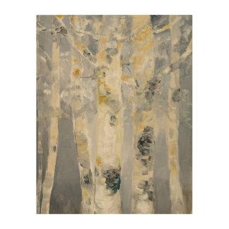 Birch Trees On Grey Background 4 Wood Print