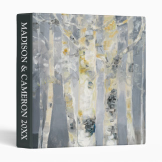 Birch Trees On Grey Background 6 3 Ring Binders