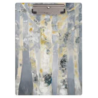 Birch Trees On Grey Background 6 Clipboards