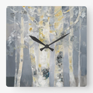 Birch Trees On Grey Background 6 Clock