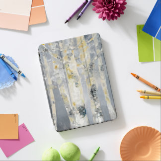 Birch Trees On Grey Background 6 iPad Air Cover