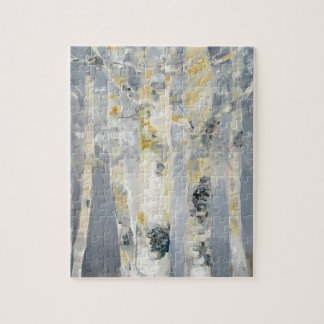 Birch Trees On Grey Background 6 Jigsaw Puzzle