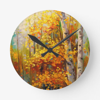 Birch trees round clock