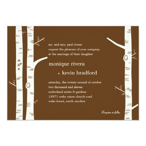 birch trees wedding invitation chocolate zazzle With wedding invitations with birch trees