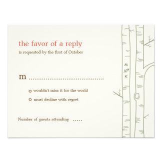 Birch Trees Wedding RSVP Card - Custom Custom Invitations