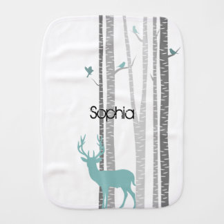 Birch Trees with Deer Baby Burp Cloths