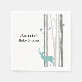 Birch Trees with Deer Disposable Napkin