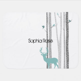 Birch Trees with Deer Swaddle Blanket