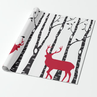 Birch trees with red Christmas deer and birds