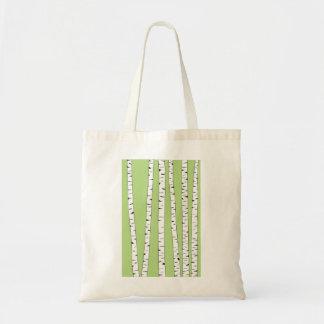 Birch Trunks on Green Tote Bag