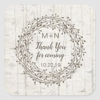 Birch wood bark wedding favor monogram thank you square sticker