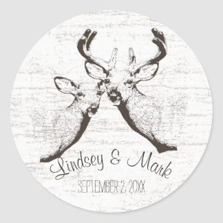 Birch Wood Deer Classic Round Sticker