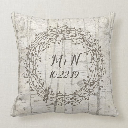 Birch wood wreath monogram wedding throw pillow