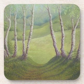 Birches in Springtime Walton Heath Coasters