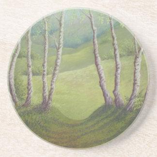 Birches, Springtime Walton Heath Sandstone Coaster