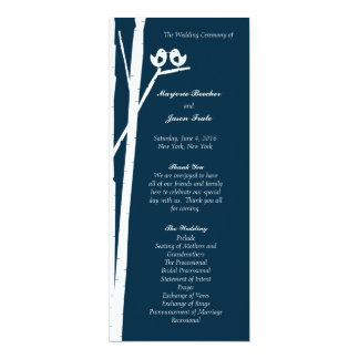 "Birchtree Birds Wedding Program Blue 4"" X 9.25"" Invitation Card"