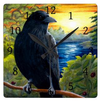 Bird 63 crow raven wallclock