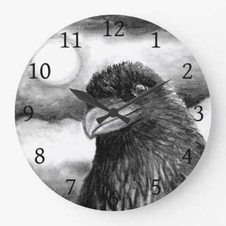 Bird 64 Crow Raven Moon black white Large Clock