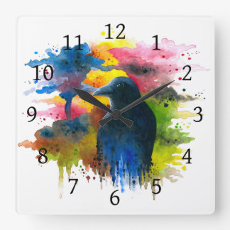 Bird 71 Crow Raven Square Wall Clock