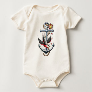 Bird and Anchor Tattoo Art Baby Bodysuit