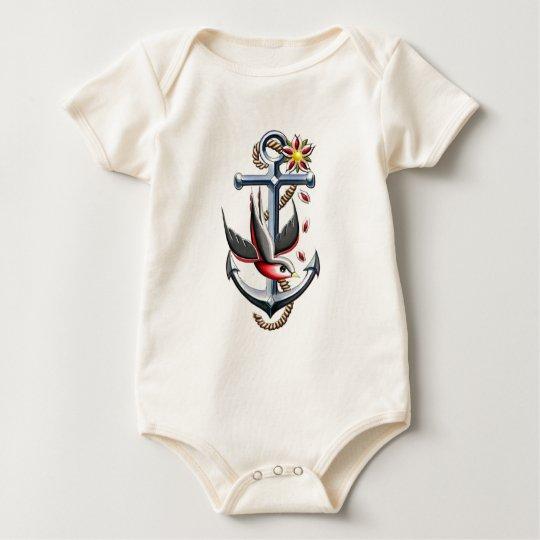 Bird and Anchor Tattoo Art Baby Bodysuit