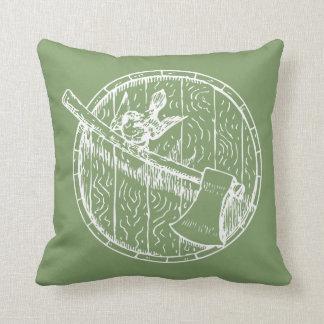 Bird And Axe On A Barrel Throw Pillow