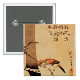 Bird and bamboo, c.1830, 2 inch square button