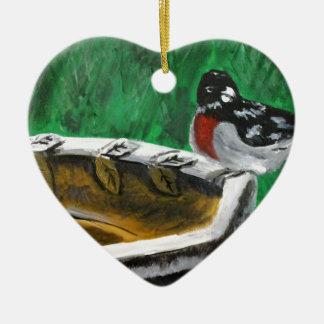Bird and birdbath ceramic heart ornament