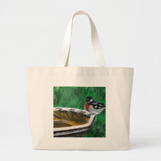 Bird and birdbath large tote bag