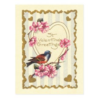 Bird and Bloom St Valentine's Greetings Postcard