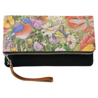 Bird and Butterflies Fold Over Clutch