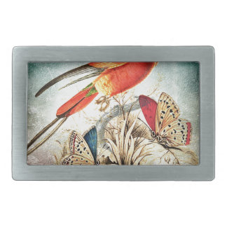 BIRD AND BUTTERFLIES RECTANGULAR BELT BUCKLE