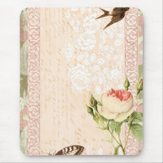 Bird and Butterfly Victorian Design Mouse Pad