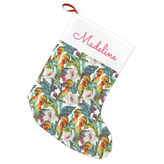 Bird And Exotic Flower Pattern   Add Your Name Small Christmas Stocking