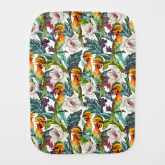 Bird And Exotic Flower Pattern Burp Cloths