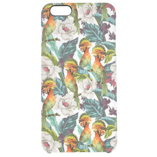 Bird And Exotic Flower Pattern Clear iPhone 6 Plus Case