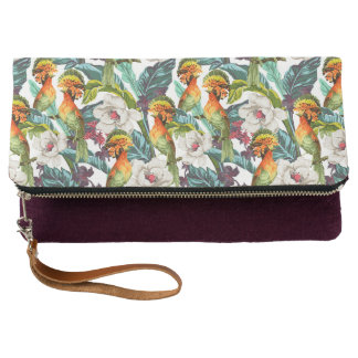 Bird And Exotic Flower Pattern Clutch