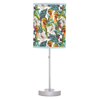 Bird And Exotic Flower Pattern Desk Lamp