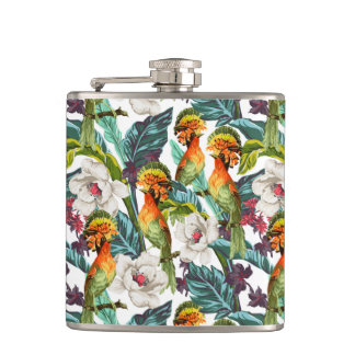 Bird And Exotic Flower Pattern Flasks