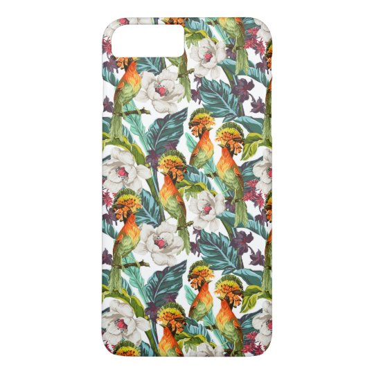 Bird And Exotic Flower Pattern iPhone 7 Plus Case