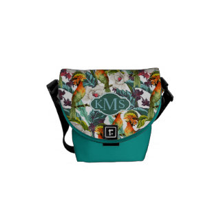 Bird And Exotic Flower Pattern | Monogram Commuter Bag